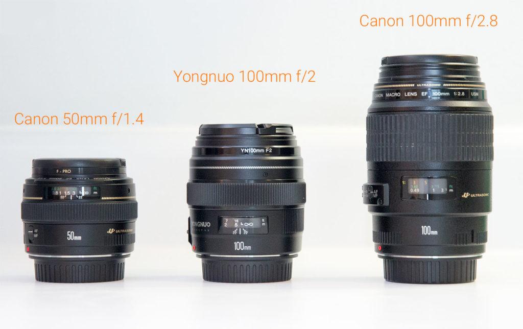 comparaison yongnuo 100mm f/2