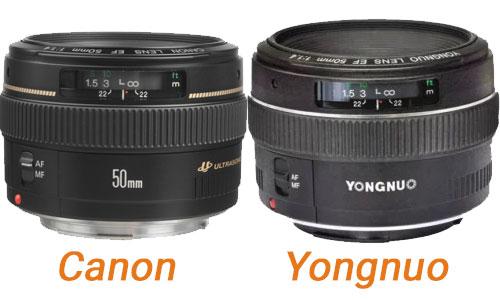 Comparaison 50mm f/1.4 Yongnuo et Canon