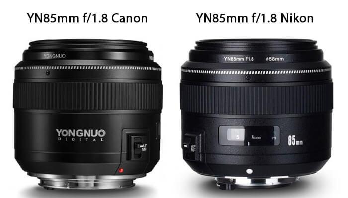 comparaison objectif yongnuo 85mm canon et nikon
